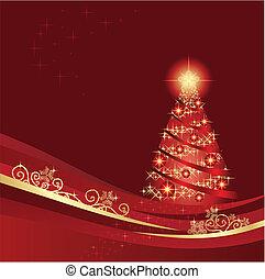 jardim, árvore, glowing, natal, vermelho, inverno