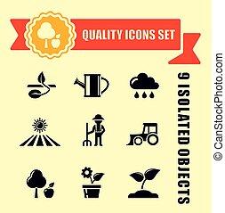 jardim, ícones, fita, agricultura, ou, vermelho
