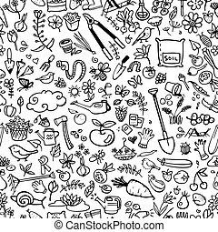 jardim, ícones, seamless, mão, fundo, desenhado