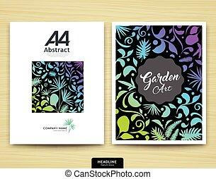 jardim, abstratos, anual, cobertura, esquema, folheto, desenho, modelo, relatório