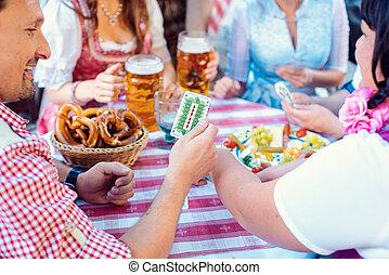 jardim, bavarian, jogo, tradicional, cerveja, amigos, cartão...