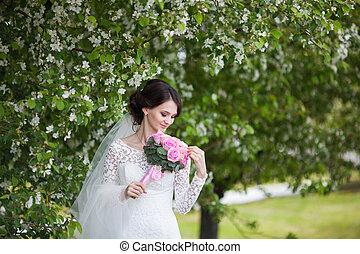 jardim, buquet, florescer, jovem, noiva, casório