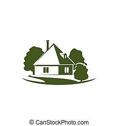 jardim, casa, árvores, vetorial, verde, ícone