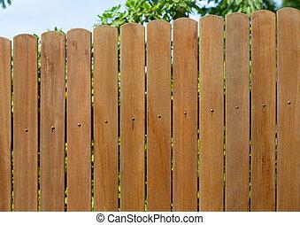 jardim, cerca madeira