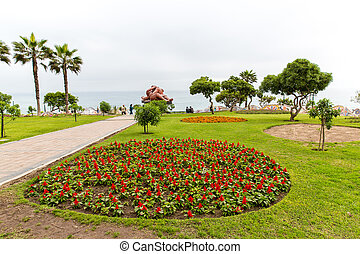 jardim, convidando, hotel, lago, pátio, upscale, peru,...