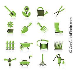 jardim, e, ferramentas ajardinando