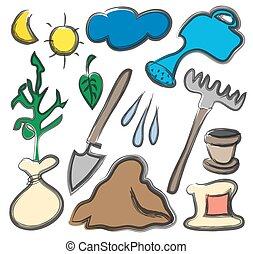 jardim, equipamento, isolado, branca