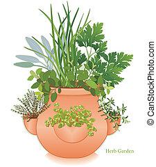 jardim erva, jarro, plantador, moranguinho