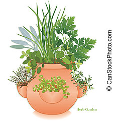 jardim erva, moranguinho, jarro, plantador