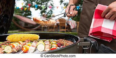 jardim, família, seu, churrasco, partido, tendo