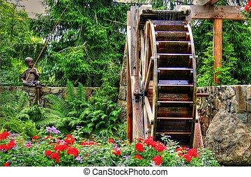 jardim flor, e, waterwheel, em, hdr