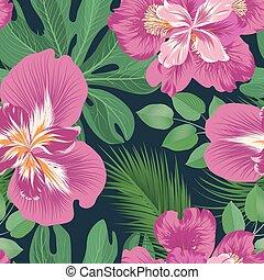 jardim flor, pattern., seamless, experiência., floral, florescer