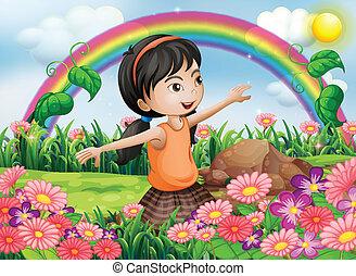 jardim, florescer, fresco, menina, flores, feliz
