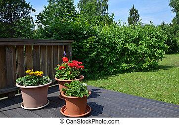 jardim, flowerpots
