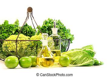 jardim, fresco, veggies, com, limas