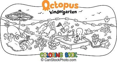 jardim infância, coloração, polvo, livro