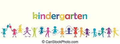 jardim infância, crianças, bandeira, colorido