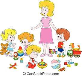 jardim infância, crianças, professor, tocando