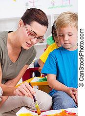 jardim infância, ensinando, professor, criança