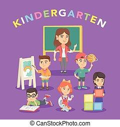 jardim infância, grupo, professor, crianças