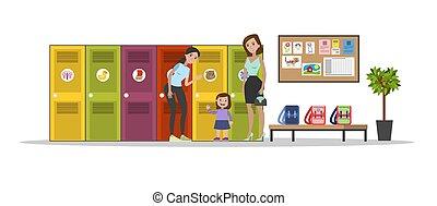 jardim infância, interior, mulher, livro, leitura
