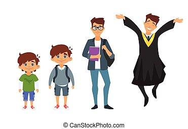 jardim infância, personagem, graduado