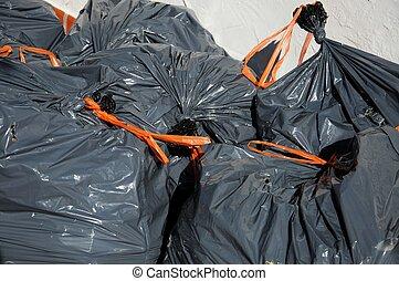 jardim, lixo, bags.