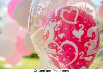 jardim, partido aniversário, decoração, com, balões