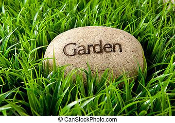 jardim, pedra