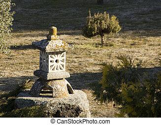 jardim pedra, lanterna chinesa