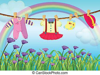 jardim, penduradas, bebê, flores frescas, roupas