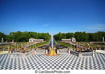 jardim, peterhof, palácio, st., fontes, cascata, petersburg,...