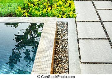 jardim, piscina, natação