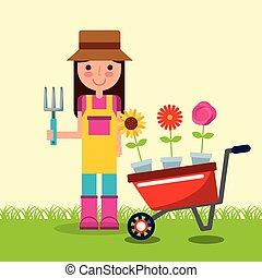 jardim, pote, carrinho de mão, menina, flores, jardineiro