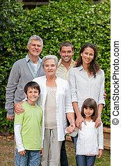 jardim, retrato, olhar, câmera, família, feliz