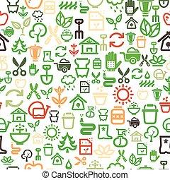 jardim, seamless, fundo, ícones