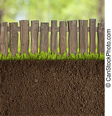 jardim, solo, com, cerca madeira