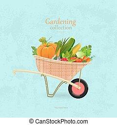 jardim, vindima, legumes, desenho, carrinho de mão, seu
