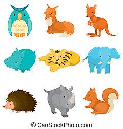 jardim zoológico, caricatura, ícones animais