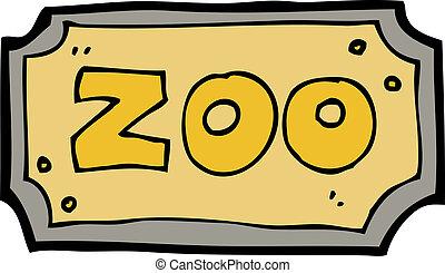 jardim zoológico, caricatura, sinal
