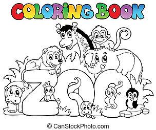 jardim zoológico, coloração, animais, livro, sinal
