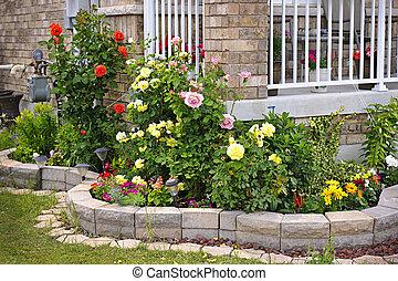 jardin, à, pierre, landscaping
