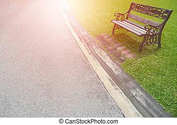 jardin, éclater, lumière, métal, chaise verte, herbe