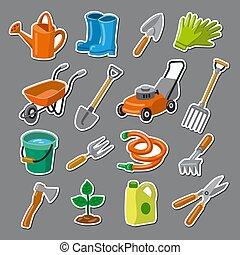 jardin, autocollants, outils