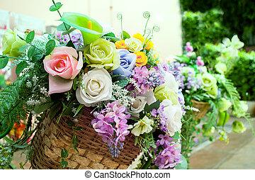 jardin, bouquet, décoration, maison, fleurs, arranger