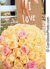 jardin, bouquet, décoration, roses, mariage, arranger