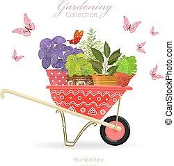 jardin, charrette, herbes, planté, conception, ton