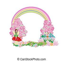 jardin, conte fées, terre, fée, beau