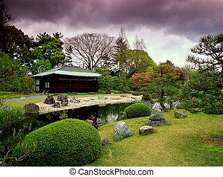 jardin, dans, japon