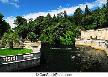 Park Jardin de la Fontaine in city of Nimes in southern France